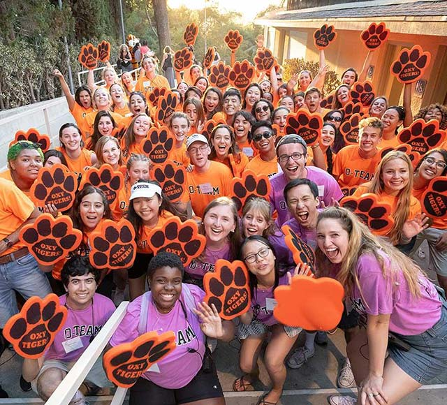 Oxy's O-Team, a group of student volunteers who welcome new students to campus every semester