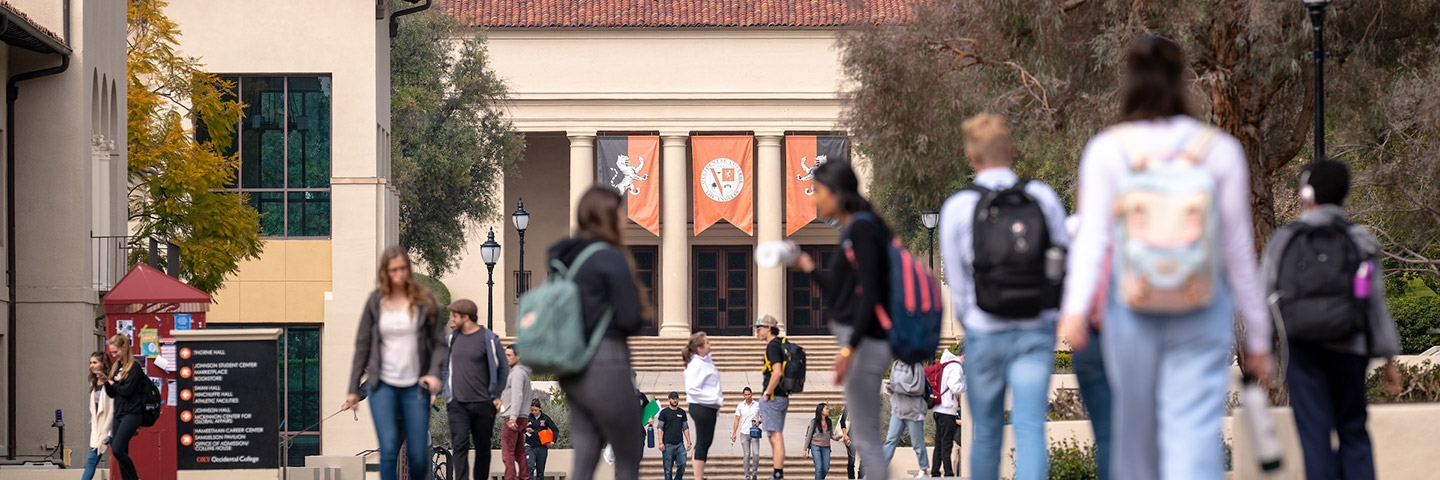 Students on the walkway in front of Thorne Hall