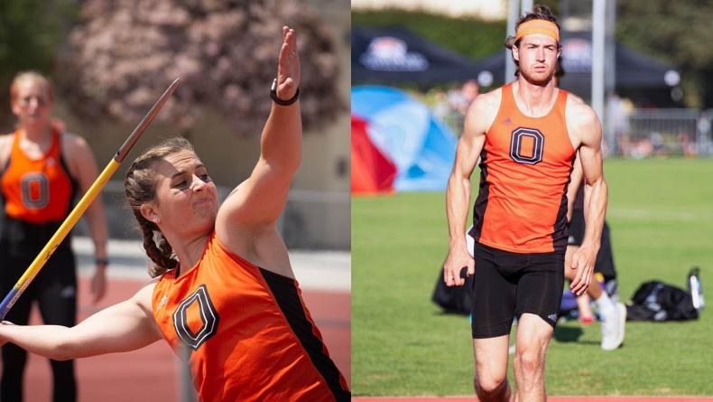 Oxy student athletes Sabrina Degnan and Austin DeWitz